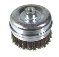 Twist knot cup wire brush. Stainless steel wire. Coarse.